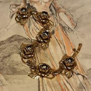 Vintage 50's Gold tone Rose Bracelet
